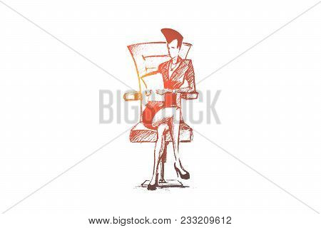 Vector Hand Drawn Business Lady Sketch. Business Woman Sitting Leg To Leg On Office Chair And Holdin