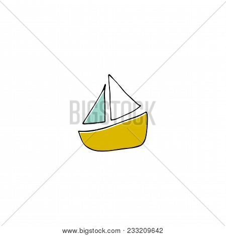 Vector Hand Drawn Paper Boat, Ship Toy. For Children Fashion And Stationery, Nursery, Scrapbooking,