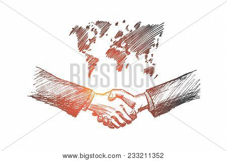 Vector Hand Drawn International Partnership Sketch. Handshaking Of Two Businessmen On World Map Back