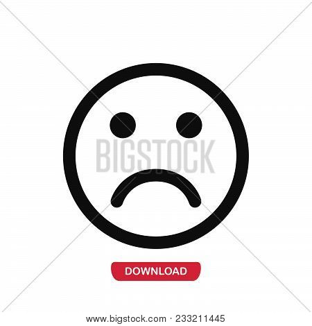 Sad Icon Vector In Modern Flat Style For Web, Graphic And Mobile Design. Sad Icon Vector Isolated On