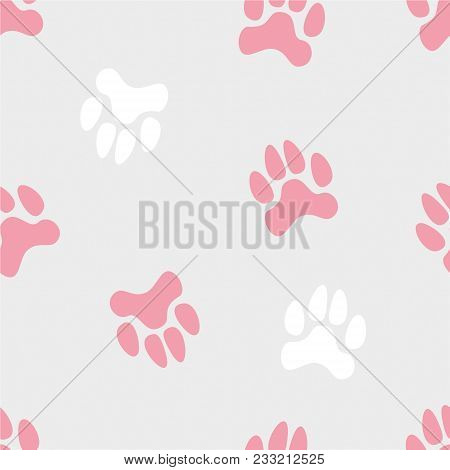 Vector Seamless Cute Pattern With Colored Turned Traces Of Animals On A Grey Monochrome Background.