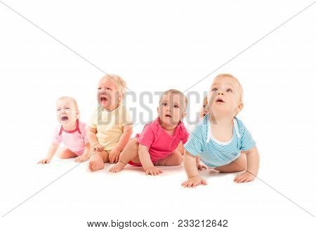 Five Crying Babies, Crawling Isolated On White