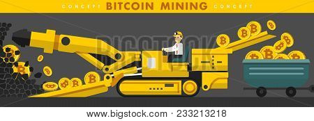 Young Man With Mining Equipment Working In Bitcoin Mine