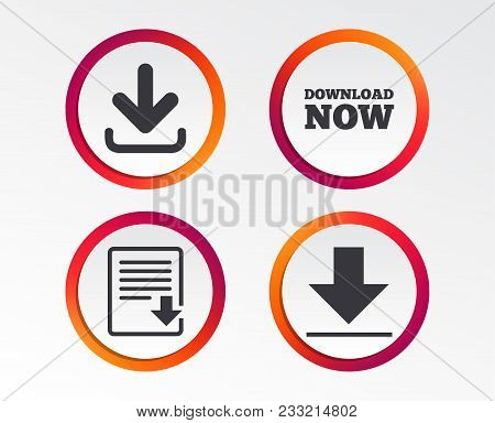 Download Now Icon. Upload File Document Symbol. Receive Data From A Remote Storage Signs. Infographi