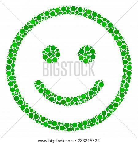 Glad Smiley Collage Of Round Dots In Different Sizes And Color Hues. Circle Elements Are Composed In