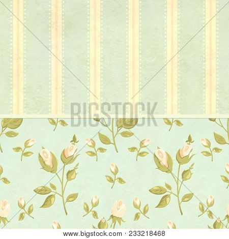 Retro background in shabby chic style with label and old paper texture with rose flower. Mock up template for vintage scrapbooking design. Copy space for your text
