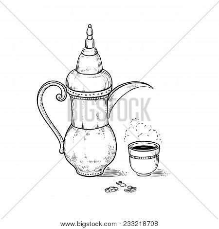 Arabic Vintage Coffeepot And Cup With A Hot Drink And A Flavored Vapor, Coffee Beans. Vector Sketch