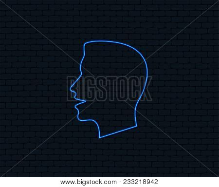 Neon Light. Talk Or Speak Icon. Loud Noise Symbol. Human Talking Sign. Glowing Graphic Design. Brick
