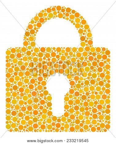 Lock Mosaic Of Circle Dots In Various Sizes And Color Tints. Round Dots Are Composed Into Lock Vecto