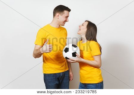 Fun Smiling Cheerful Emotional Young Couple, Woman, Man, Football Fans In Yellow Uniform Cheer Up Su