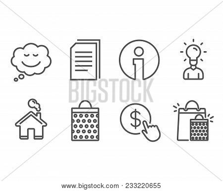 Set Of Education, Shopping Bag And Speech Bubble Icons. Buy Currency, Copy Files And Shopping Bags S