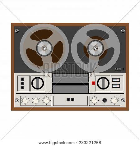 Vintage Analog Stereo Reel Tape Recorder. Vector Illustration
