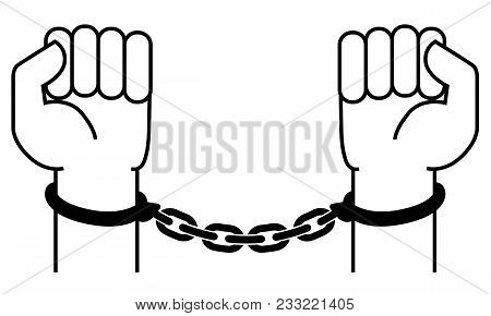 Handcuffs On The Hands Of The Criminal. A Crime, Corruption And Arrest Concept. Vector Illustration