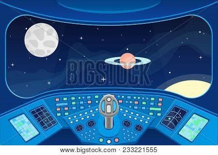 Spaceship Cabin Interior And View Window To Space Background Card Control Navigation Panel And Equip