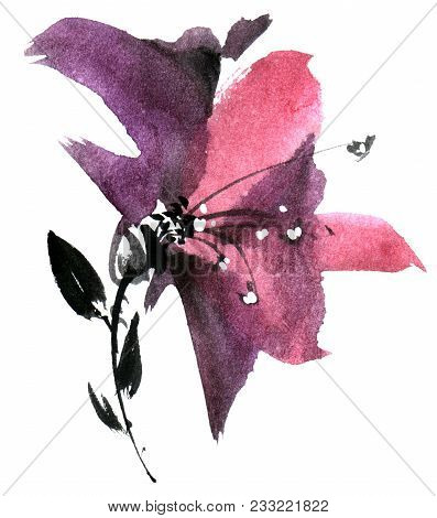 Watercolor And Ink Illustration Of Flower. Sumi-e, U-sin Painting. Decorative Drawing For Postcard,