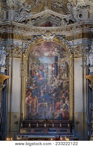ROME, ITALY - SEPTEMBER 04: Martyrdom of the Apostles Philip and James the Less by Domenico Maria Muratori, altarpiece in church dei Santi XII Apostoli in Rome, Italy on September 04, 2016.