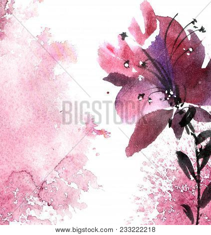 Watercolor And Ink Illustration Of Flower With Leaves. Sumi-e, U-sin Painting. Decorative Background