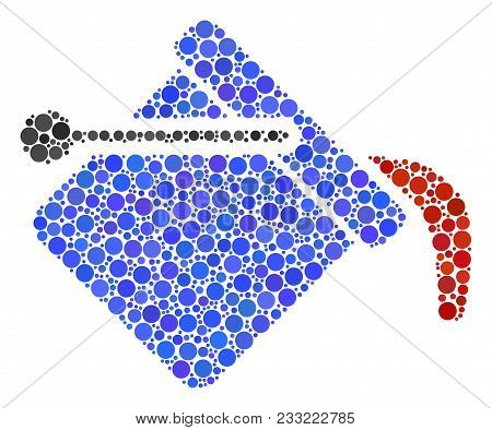 Paint Bucket Collage Of Dots In Different Sizes And Color Shades. Round Dots Are Composed Into Paint