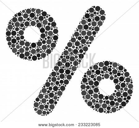 Percent Mosaic Of Round Dots In Various Sizes And Color Tints. Round Dots Are United Into Percent Ve