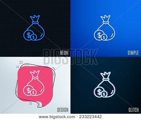 Glitch, Neon Effect. Money Bag With Coins Line Icon. Cash Banking Currency Sign. Dollar Or Usd Symbo