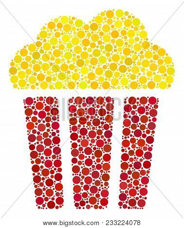 Popcorn Bucket Composition Of Circle Dots In Variable Sizes And Color Shades. Dots Are Composed Into