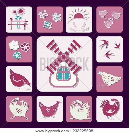 Set Of Icons In A Flat Style, Silhouettes Of Birds, Chicks, Swallows, Birds, Butterflies, Sunflowers