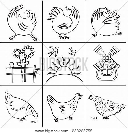 Set Of Icons In A Flat Style Of Lines, Silhouettes Of Cocks, Chicks, Swallows, Birds, Butterflies, S