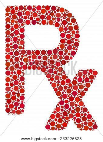 Rx Symbol Composition Of Round Dots In Various Sizes And Color Hues. Circle Dots Are United Into Rx
