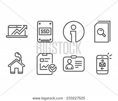 Set of Report checklist, Sales diagram and Search files icons. Id card, Ssd and Mail signs. Sales growth file, Sale growth chart, Magnifying glass. Vector poster