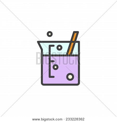 Laboratory Beaker Filled Outline Icon, Line Vector Sign, Linear Colorful Pictogram Isolated On White