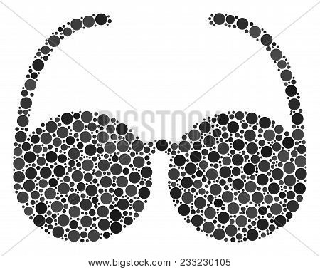 Spectacles Mosaic Of Circle Dots In Various Sizes And Color Tones. Circle Dots Are Organized Into Sp