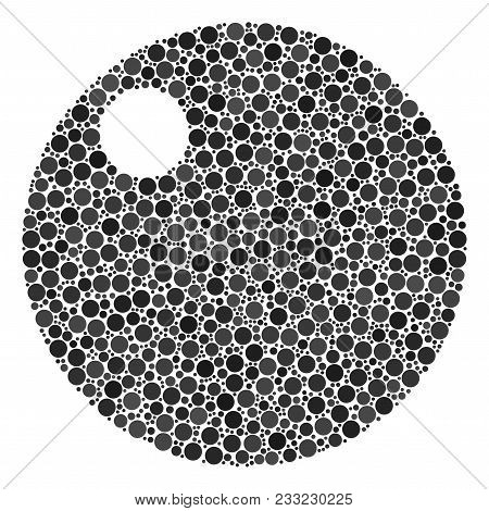 Sphere Collage Of Circle Dots In Different Sizes And Color Tones. Circle Elements Are Combined Into