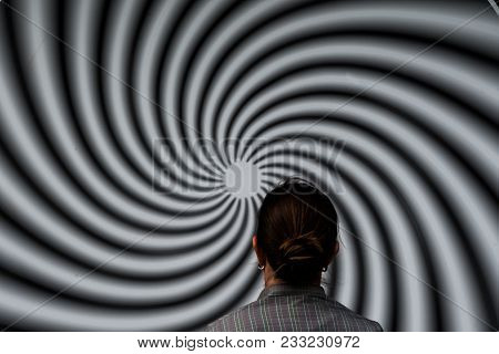Jul 2017, Bremervoerde, Germany, Woman In Front Of Optical Illusion Park Of The Senses
