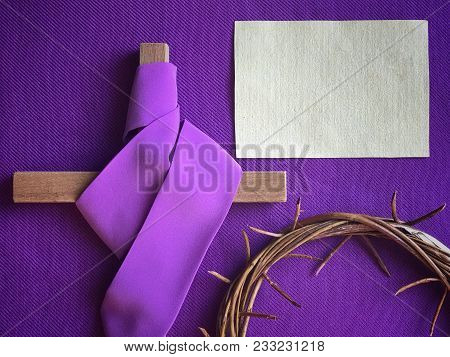 Conceptual - Good Friday And Holy Week Concept. An Empty White Note Paper, Wooden Cross Covered With