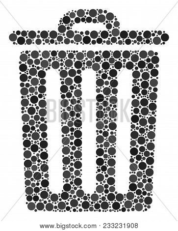 Trash Bin Mosaic Of Circle Dots In Variable Sizes And Color Tones. Dots Are Grouped Into Trash Bin V