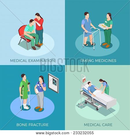 Doctor And Patient Isometric Design Concept With Examination, Taking Medicines, Bone Fracture, Medic