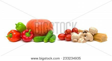 Mushrooms, Spaghetti And Vegetables On A White Background. Horizontal Photo.