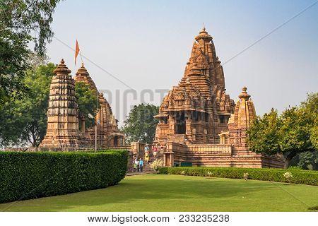 Khajuraho, India - November 10, 2017: View Of Lakshmana And Matangeshwar Temples, India. The Temples