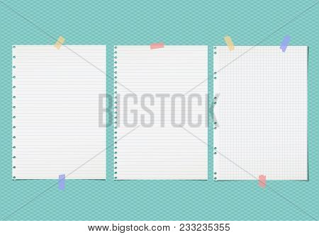 White Lined Note, Notebook Paper Sheets For Text Stuck With Colorful Sticky Tape On Squared Turquois