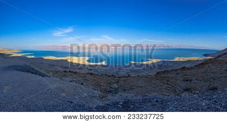 Panoramic Landscape Of The Coastline Of The Dead Sea, Between Israel And Jordan