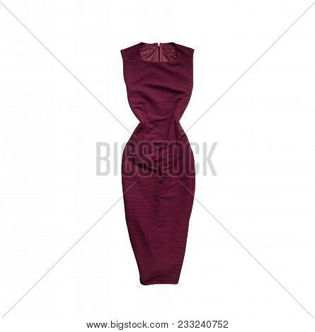 Bordeaux Dress. Fashionable Concept. Isolated. White Background