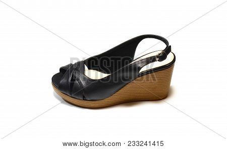Elegant Woman Black High-heel Shoes, Slingback Shoes, Chunky Heel Shoes, Isolated On White Backgroun
