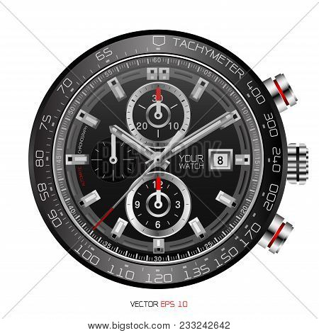 Realistic Black Clock Face Wristwatch Chronograph Stainless Steel Clockwise Red White Fashion For Me