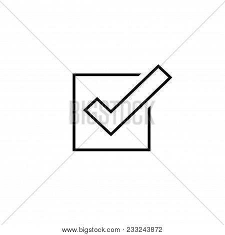 Tick Icon Vector Symbol, Line Outline Checkmark Isolated On White Background, Checked Icon Or Correc