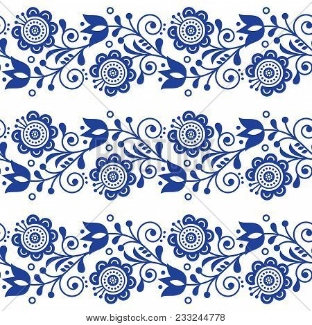 Scandinavian Seamless Vector Pattern With Flowers, Nordic Folk Art Repetitive Navy Blue Ornament - L