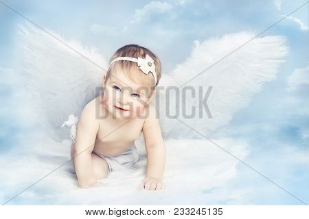 Angel Baby With Wings Crawling On Sky, Kid Girl Cupid, New Born Child Art Portrait