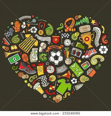 Set Of Vector Cartoon Doodle Football Objects Collected In A Heart. Soccer Subjects Collection
