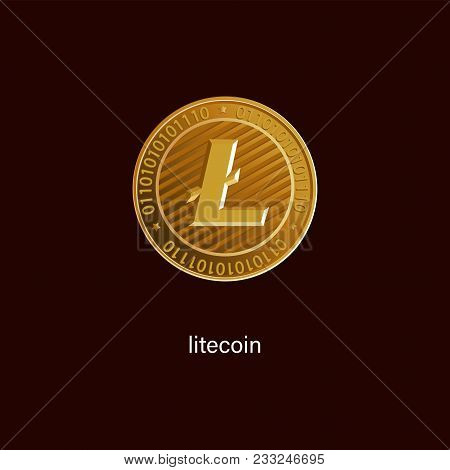 Litecoin Is A Symbol Of A Physical Coin. Gold Sign Of Crypto Currency On A Dark Background. Cryptogr