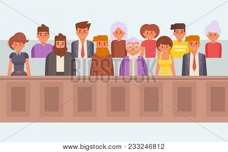 Jury In Court. Vector. Cartoon Isolated Art Flat