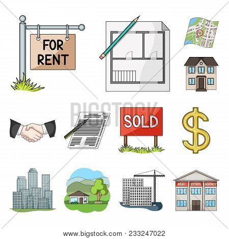 Realtor, Agency Cartoon Icons In Set Collection For Design. Buying And Selling Real Estate Vector Sy